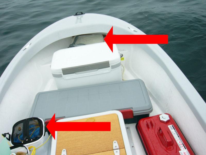 手漕ぎボート釣り アンカーロープ